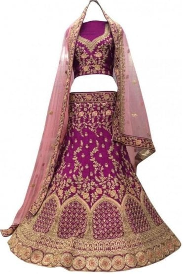WBL20015 Gorgeous  Purple and Pink Bridal / Party Wear Lengha (Semi- Stitched)