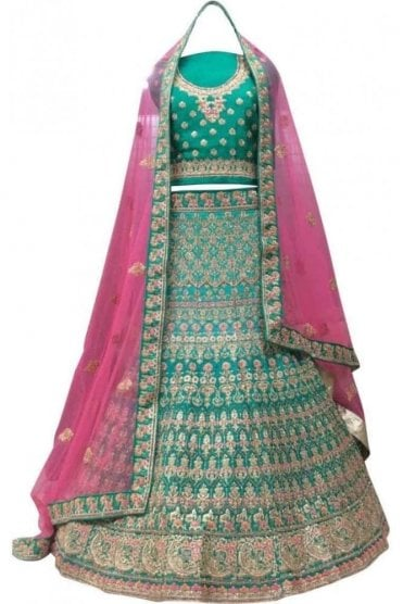 WBL20021 Exquisite Rama Green and Pink Bridal / Party Wear Lengha (Semi- Stitched)