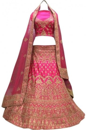 WBL20024 Stylish Pink and Gold Bridal / Party Wear Lengha (Semi- Stitched)