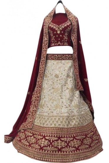 WBL20027 Exquisite Cream and Red Bridal / Party Wear Lengha (Semi- Stitched)