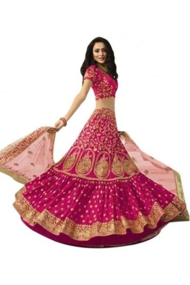 WBL20007 Gorgeous  Pink and Gold Bridal / Party Wear Lengha (Semi- Stitched)