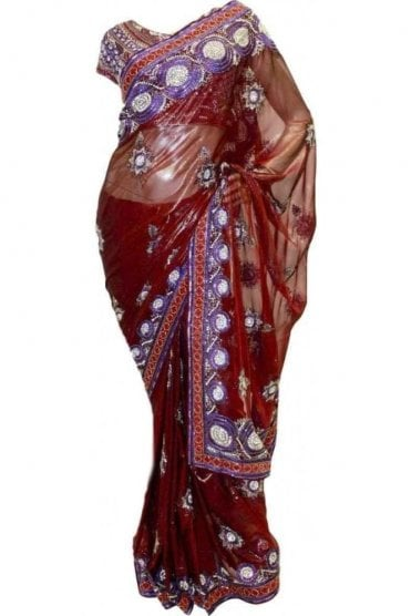 DSS20003 Maroon and Purple Faux Shimmer Silk Saree
