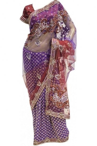 DSS20004 Maroon and Purple Net and Faux Brasso Silk Saree
