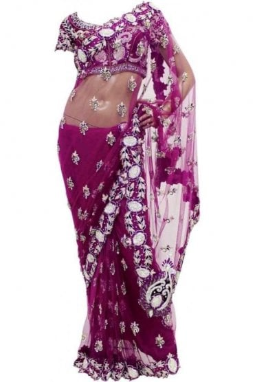 DSS20005 Pink and Silver Net Saree