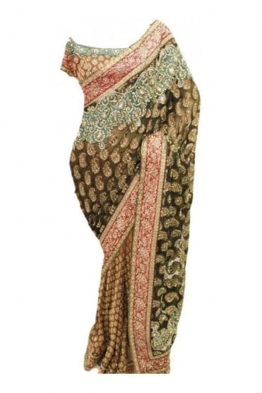 DSS20007 Olive Green and Blue Faux Shimmer and Brasso Silk Saree