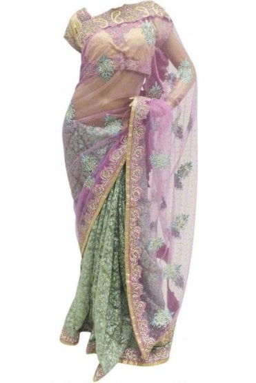 DSS20008 Pink and Green Net and Faux Brasso Silk Saree
