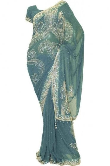 DSS20010 Rama Green and Silver Faux Chiffon Saree
