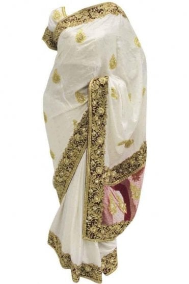 DSS20012 Red and Ivory Satin and Net Saree