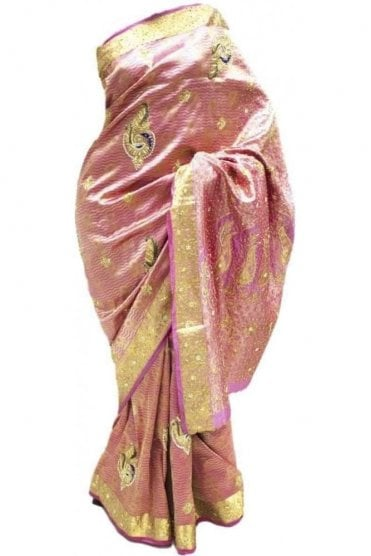 DSS20015 Pink and Blue Faux Silk Saree