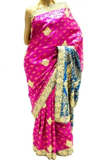 DSS20016 Pink and Blue Faux Silk Saree