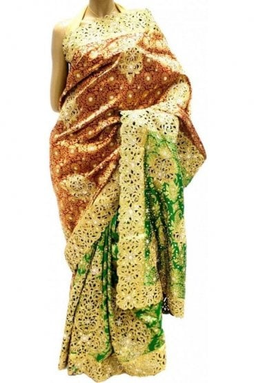 DSS20017 Maroon and Green Faux Silk Saree