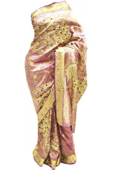 DSS20018 Pink and Gold Faux Silk Saree