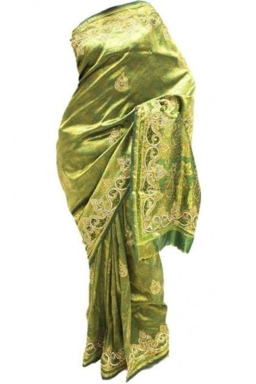 DSS20019 Green and Gold Faux Silk Saree
