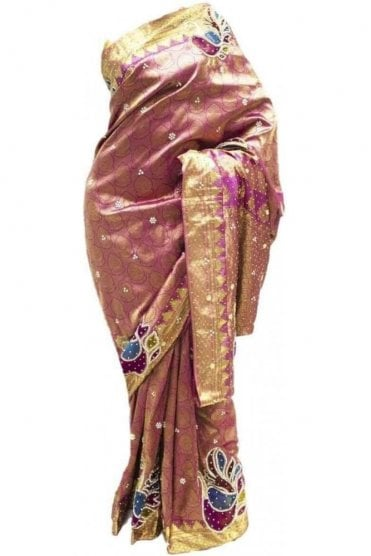 DSS20020 Pink and Gold Faux Silk Saree