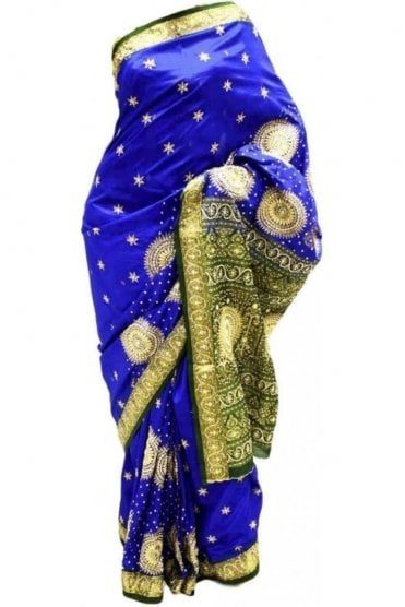 DSS20022 Blue and Green Faux Silk Saree