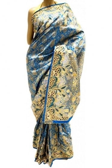 DSS20023 Blue and Gold Faux Silk Saree