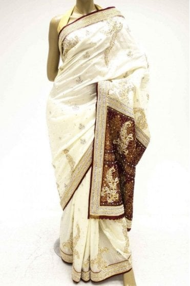 DSS20035 Cream and Maroon Faux Silk Saree