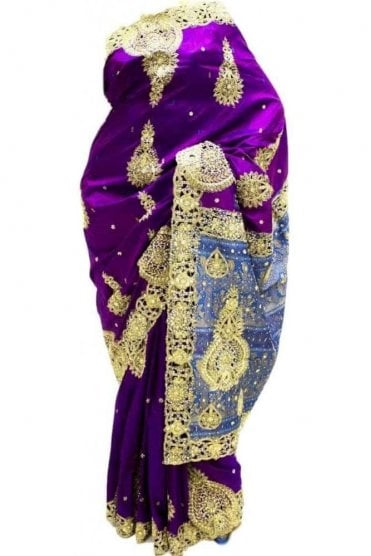DSS20039 Purple and Blue Faux Silk Saree