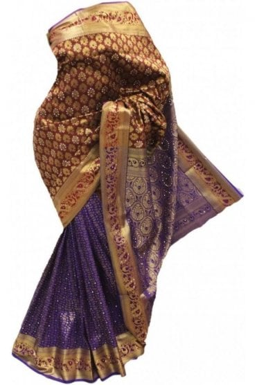 DSS20044 Maroon and Purple Faux Silk Saree