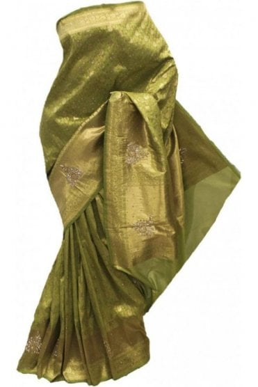 DSS20045 Green and Gold Faux Silk Saree