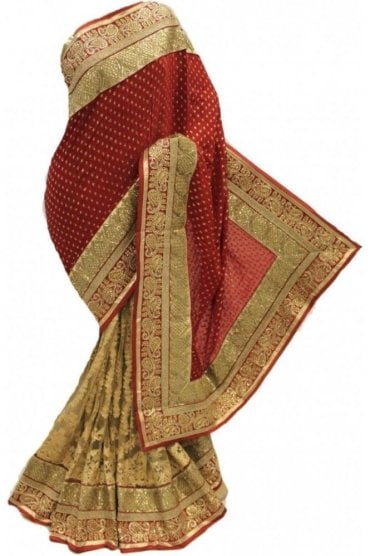 DSS20060 Red and Gold Faux Chiffon and Net Saree