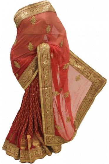 DSS20061 Peach and Gold Faux Chiffon Saree