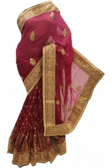 DSS20063 Pink and Gold Faux Chiffon Saree