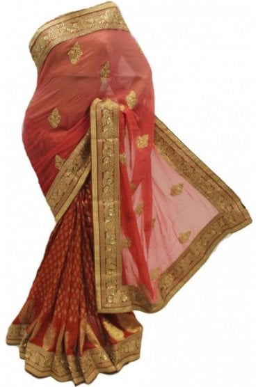 DSS20064 Peach and Pink Faux Chiffon Saree