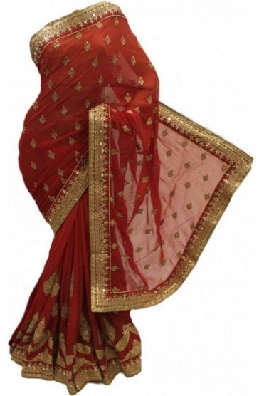 DSS20066 Red and Peach Faux Chiffon Saree