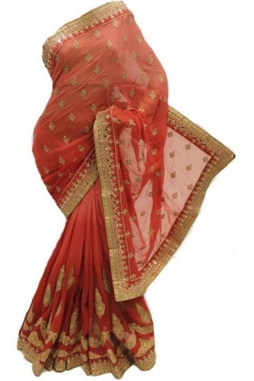 DSS20067 Peach and Pink Faux Chiffon Saree