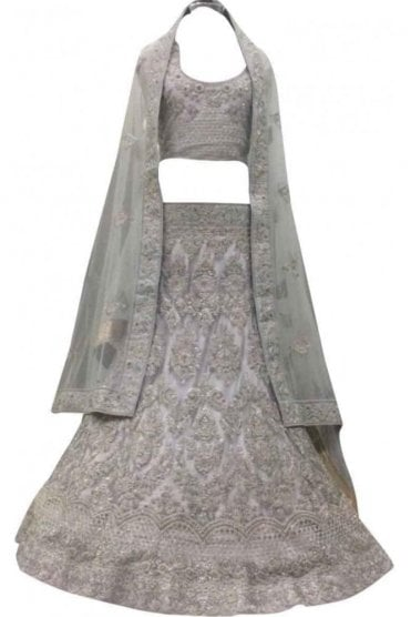 WBL20036 Beautiful  Grey and Gold Bridal / Party Wear Lengha (Semi- Stitched)