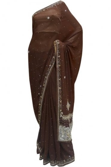 Timeless Coffee Brown, Silver and Gold Georgette Party Saree