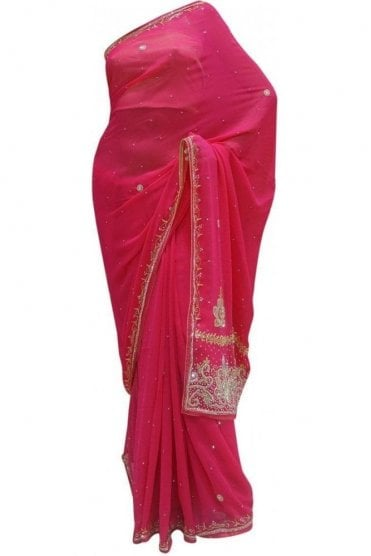 Elegant Pink, Silver and Gold Georgette Party Saree