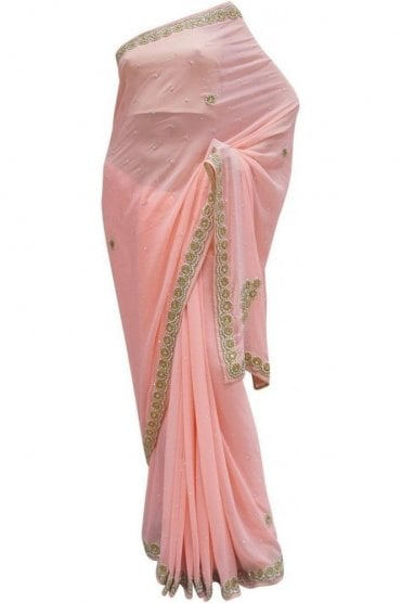 Classic Peach, Silver and Gold Georgette Party Saree