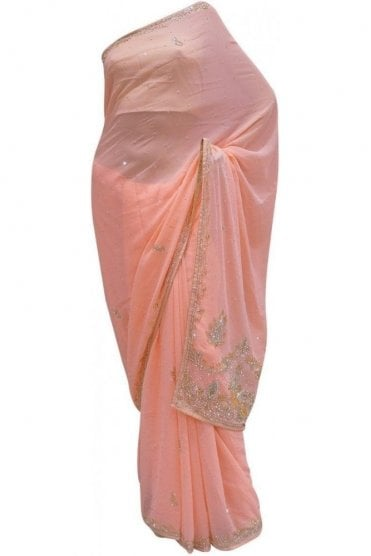 Gorgeous Pink, Silver and Gold Georgette Party Saree