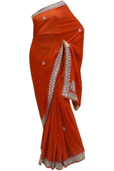 DES20010 Stunning Red & Blue Party Saree