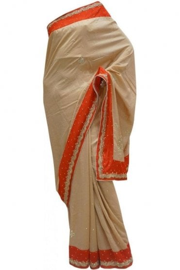 DES20015 Eye Catching Red & Gold Party Saree