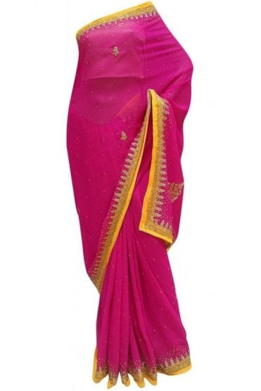 DES20019 Latest Hot Pink & Yellow Party Saree