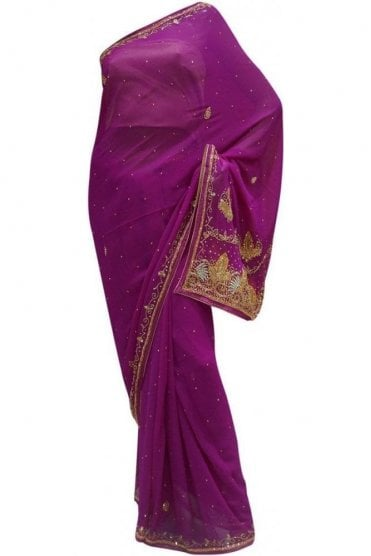 Popular Purple, Silver and Gold Georgette Party Saree