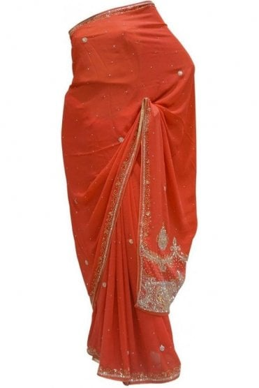 Glamourous Pink, Silver and Gold Georgette Party Saree
