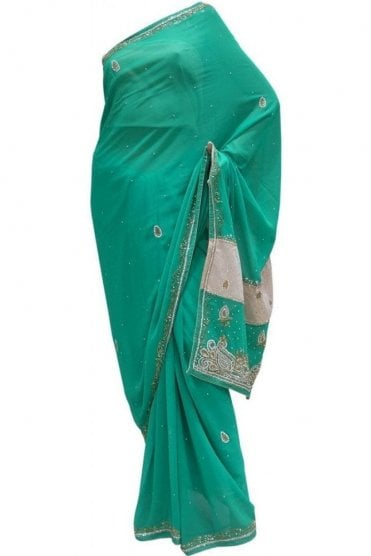 Chic Green, Silver and Gold Georgette Party Saree