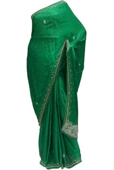 Exclusive Bottle Green, Silver and Gold Art Silk Party Saree