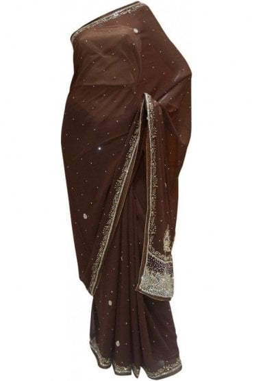 Elegant  Coffee Brown, Silver and Gold Georgette Party Saree