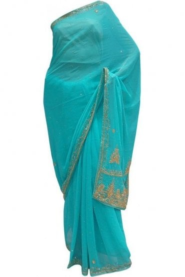Beautiful  Blue, Silver and Gold Georgette Party Saree
