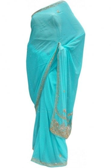 DES20033 Striking Blue & Silver / Gold Party Saree