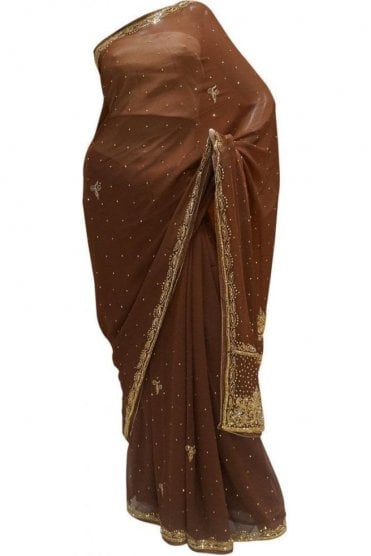 Gorgeous  Coffee Brown, Silver and Gold Georgette Party Saree