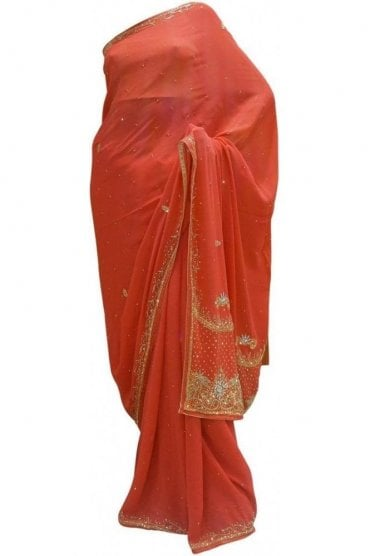 Latest Peach, Silver and Gold Georgette Party Saree