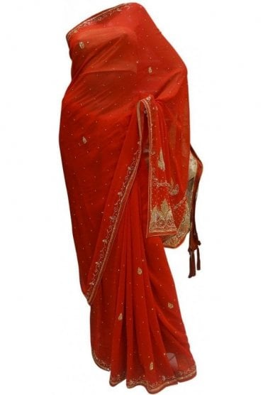 Timeless Red, Silver and Gold Georgette Party Saree
