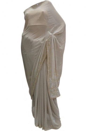 DES20046 Lovely Grey & Gold Party Saree