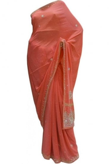 Stunning Peach, Silver and Gold Georgette Party Saree